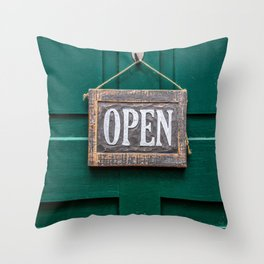 open shield wood lacquered Throw Pillow