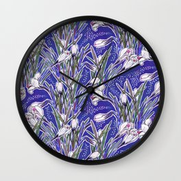 White Crocuses Spring Flowers Botanical Floral Pattern Ultramarine Blue Wall Clock