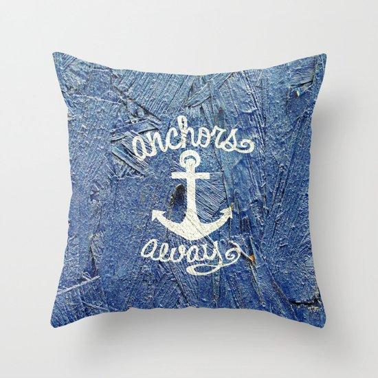 White Nautical Anchors Blue Vintage Wood Texture Throw Pillow