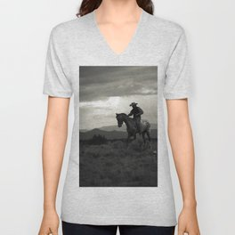 Santa Fe Cowboy on Horse Unisex V-Neck