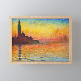 Claude Monet Sunset In Venice Framed Mini Art Print