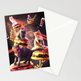 Galaxy Laser Cat On Burger - Space Cheeseburger Cats with Lazer Stationery Cards