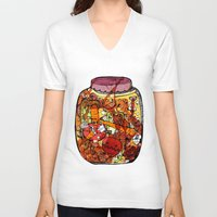 vegetables V-neck T-shirts featuring Preserved vegetables by ChiLi_biRó