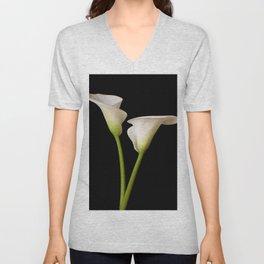 Calla Lily on black Unisex V-Neck