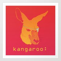 kangaroo Art Prints featuring Kangaroo: by Andrea Mantani