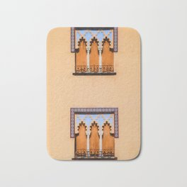 Dueling Windows of the Medieval Village of Cordoba Spain Bath Mat