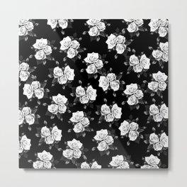 Dark and White Roses Metal Print