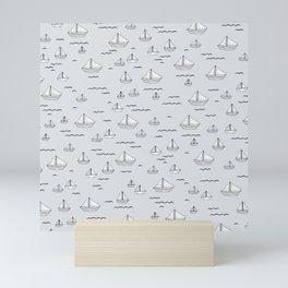 Little sailor Scandinavian style sailing boats nursery boys Mini Art Print