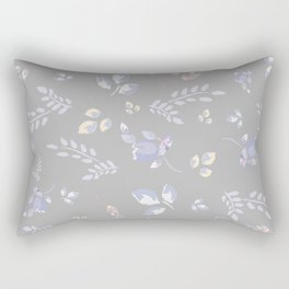 Spring colors watercolor leaves & tulips on light grey background Rectangular Pillow