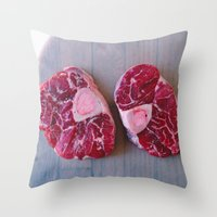 meat Throw Pillows featuring Meat Meat Meat (4) by The Avant-Garden