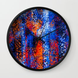 psychedelic geometric polygon shape pattern abstract in blue red orange Wall Clock