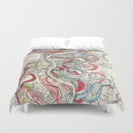 Beautiful Vintage Map of the Mississippi River Duvet Cover