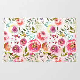 blush pink peonies watercolor fuchsia flowers Rug