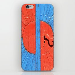 vintage  red blue door iPhone Skin
