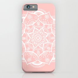 White and Pink Flower Mandala iPhone Case