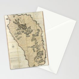 Map Of Dominica 1775 Stationery Cards