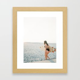 Surfer girl | Wanderlust photo print | Coastal photography wall art surfboard. Framed Art Print