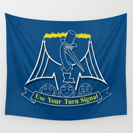 Use Your Turn Signal- white and yellow Wall Tapestry