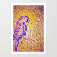 parrot Art Prints featuring PARROT  by MAGIC DUST