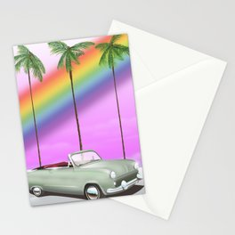 Vintage Car and rainbow, Stationery Cards