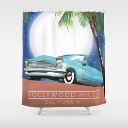 Hollywood Hills California travel poster, Shower Curtain