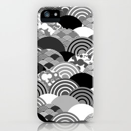 Nature background with japanese sakura flower, Cherry, wave circle Black gray white colors iPhone Case