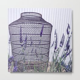Lavender and White Metal Print