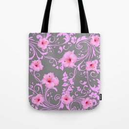 DECORATIVE  PINK AMARYLLIS BROCADE FLORAL GREY ART Tote Bag