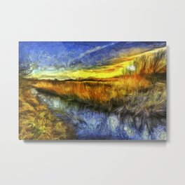 Sunset River Van Gogh Metal Print
