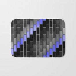 BRICK WALL #2 (Black, Grays & Light Blue) Bath Mat