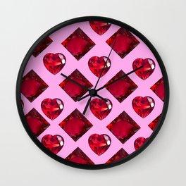 RUBY JEWELED  VALENTINE RUBY HEARTS  DESIGN Wall Clock