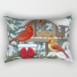 Red Cardinals and Christmas Bird Feeder Rectangular Pillow