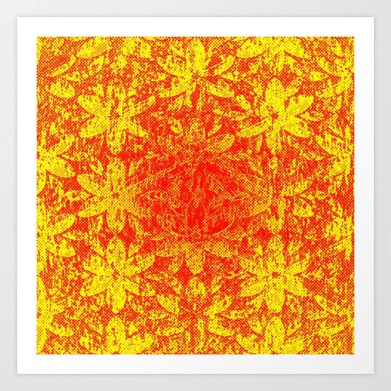 Fiery Halftone Flowers Art Print