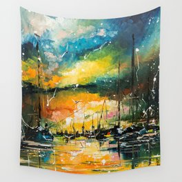 Harbor in sunset Wall Tapestry
