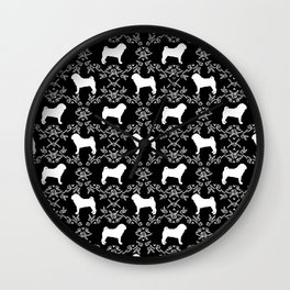 Pug silhouette florals black and white pattern for pug dog lover pet pattern gifts Wall Clock