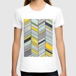 Colorful Concrete Chevron Pattern - Yellow, Blue, Grey T-shirt