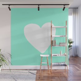 Mint Heart Wall Mural