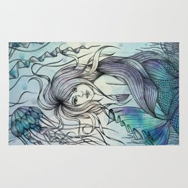 Watercolor Mermaid Rug
