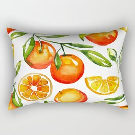 oranges watercolor tangerine fruit print Rectangular Pillow
