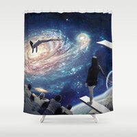 swimming Shower Curtains featuring Swimming Pool by Cs025