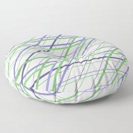 Artsy Purple and Green Geometric Criss Cross Lines Floor Pillow