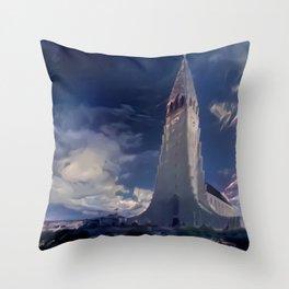 Deep Blue Hallgrímskirkja Church of Iceland Throw Pillow