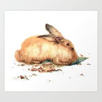 bunny Art Prints featuring Bunny by Ivanushka Tzepesh