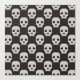 Knitted skull pattern Canvas Print