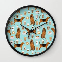 Bloodhound coffee dog pattern dog breed custom gifts for dog lovers bloodhounds Wall Clock