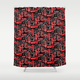 Gamer Lingo-Black and Red Shower Curtain