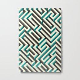 Cyan Maze Metal Print