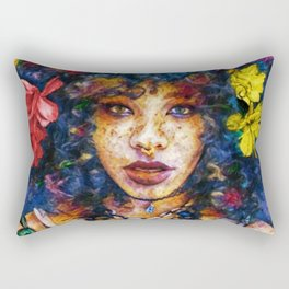 'Started At the Bottom,' African American Female Portrait Rectangular Pillow