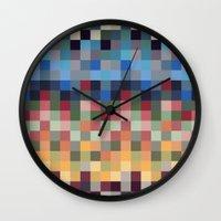 pixel Wall Clocks featuring Pixel by crrr