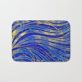Lapis Lazuli and gold vaves pattern Bath Mat